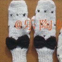 蝴蝶结饰物套装之手套说明教程  棒针编织