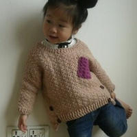 儿童口袋撞色不规则拼接卫衣 钩针编织