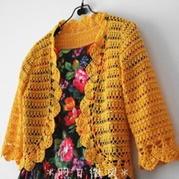 金黄色圆摆蕾丝开衫 钩针编织