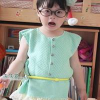 绿翘 女童滑肩半开襟钩编套头衫