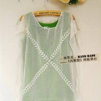 简洁网格两片式吊带外搭 钩针编织网衫