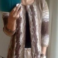 迷彩七分袖钩织结合女士开衫