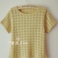 新款儿童毛线衣编织教程,女童镂空短袖衫 棒针编织教程