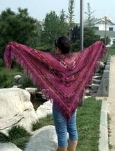 零线头成就长段染贵妇人披肩 钩针编织