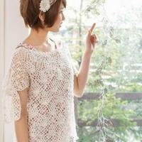 袖部系带设计感森女夏季罩衫 钩针编织