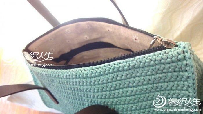 钩针编织棉草通勤手提包