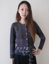 凤尾花花式段染短款长袖开衫 棒针编织女士毛衣