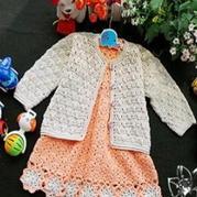 婴幼儿宝宝套装 钩针编织开衫及背心裙