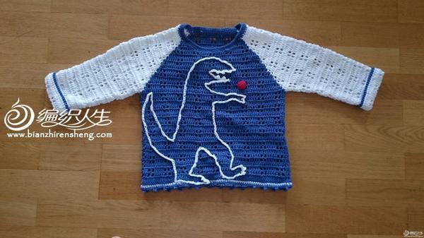 4岁男孩恐龙图案长袖钩衣