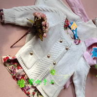 2~3岁春秋毛衣两件套 棒针编织儿童开衫及背心式裙衣