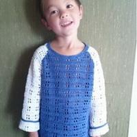 4岁男孩恐龙图案长袖钩衣 钩针编织儿童毛衣