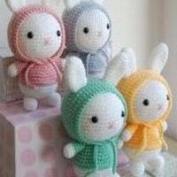 萌萌的戴帽子的小兔子 钩针编织玩偶图解教程