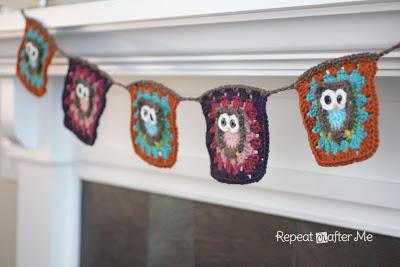 钩编猫头鹰祖母方格 可拼毯子拼包包等各种拼