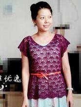 紫扇 小飞袖修身钩针编织套头衫