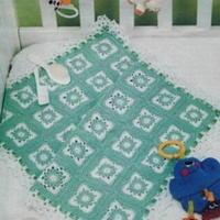 地中海风格 蓝白色钩编宝宝毯