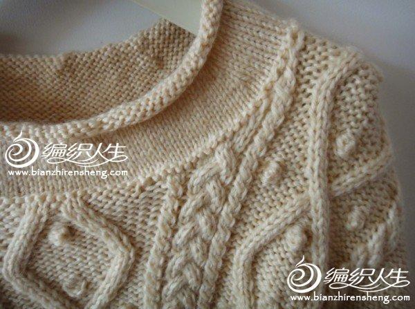 米白色复古女士珍珠菱形格毛衣 棒针编织