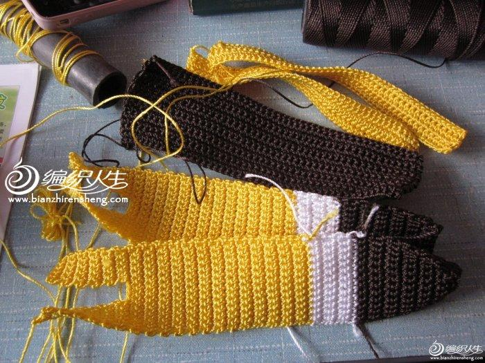 钩针编织儿童海绵宝宝书包 钩包用冰丝线
