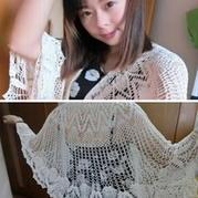 菠萝蜜云帛真丝披肩 钩针编织
