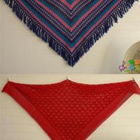 温暖的环绕 两款钩针编织经典三角披肩