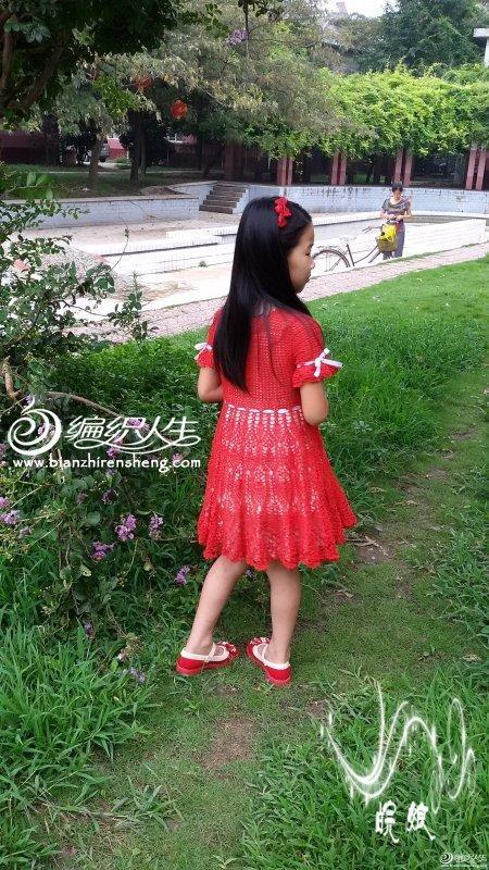 女童钩针编织水草菠萝花连衣大摆裙