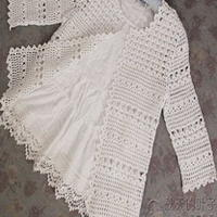 钩针编织金丝棉纯色中袖开衫