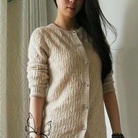 棒针编织志田花样女士羊绒开衫