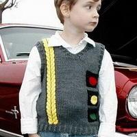 男童棒针编织红绿灯背心
