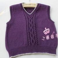男童经典V领背心 棒针编织儿童毛衣