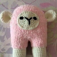 钩织结合毛巾线羊羊羊驼抱枕