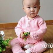 新生儿两件套 棒针编织宝宝开衫和开裆裤