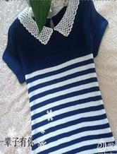 条纹蕾丝小尖领棒针编织女士短袖套头衫