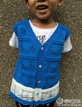 星空 棒针编织3-5岁儿童开衫背心
