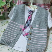 幼童灰粉条纹开衫背心 棒针编织儿童毛衣