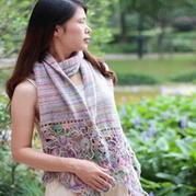 浪漫山菊花拼花围巾 钩织结合女士围巾