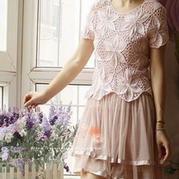 棒针编织孔斯特蕾丝六角花女士罩衫