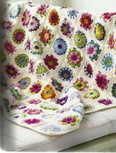 山花烂漫玫瑰雏菊盖毯 钩针编织拼花毯