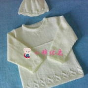 纯结 棒针编织小宝宝毛衣和帽子套装