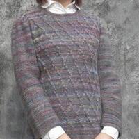浮雕纹段染宽松毛衣 棒针编织女士毛衣