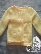 1-2岁粉嫩小熊宝宝毛衣 棒针编织儿童开衫毛衣