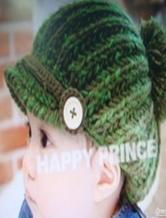 可爱婴幼儿棒针编织鸭舌帽