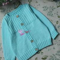 沁蓝婴幼儿棒针编织开衫