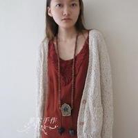 可爱慵懒风珠珠纱棒针编织女士开衫