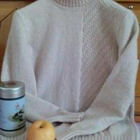男式中高领手编羊绒衫 棒针编织男士毛衣