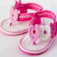 宝宝钩针编织后系带小凉鞋
