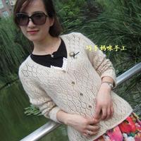 米驼羊绒棒针编织开衫