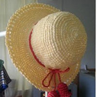 两款儿童钩针编织棉草遮阳帽