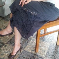 手工DIY衣服改造 钩布结合裙裤