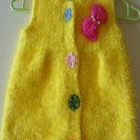 儿童珊瑚绒棒针编织背心裙