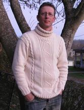 男士高领休闲宽松棒针编织毛衣
