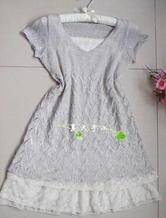 V领亮片棒针编织连衣裙